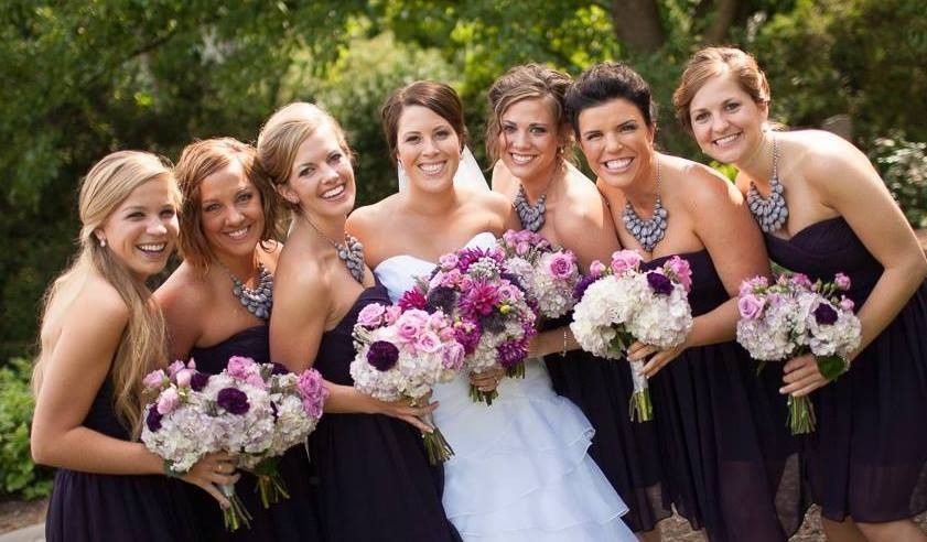 Bride and bridesmaids with their bouquets