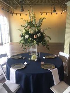 Blue round table setup