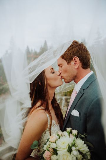 Newlyweds kiss under veil