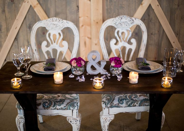Sweetheart table at the reception