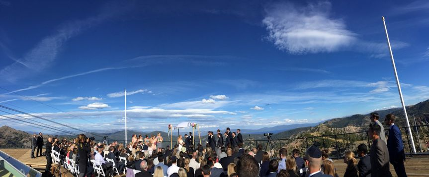 Panorama of beautiful Squaw Valley High Camp from our seats providing the ceremony tuneage