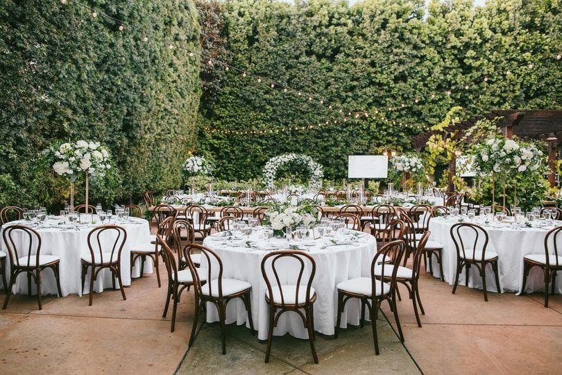 A courtyard reception