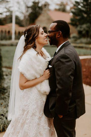 Bride pulling in groom