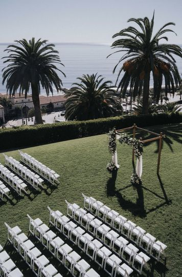 Ceremony decor with a view