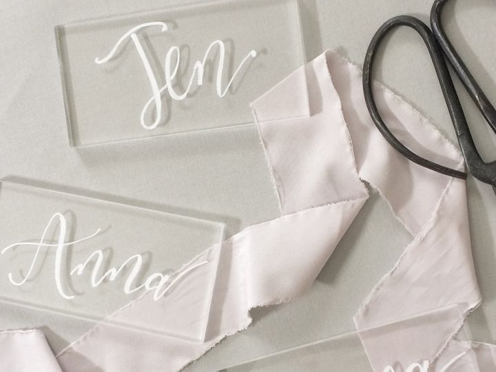 Tmx Acyrlic Hand Lettered Placecards 51 567165 V1 Vail, Colorado wedding invitation