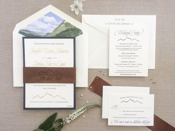Tmx Leather Gold Mountain Invite 51 567165 V1 Vail, Colorado wedding invitation