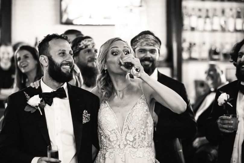 bride reacting wedding speak while drinking 51 777165