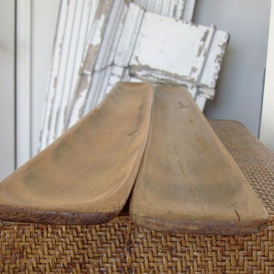 Vintage french wooden baguette trays