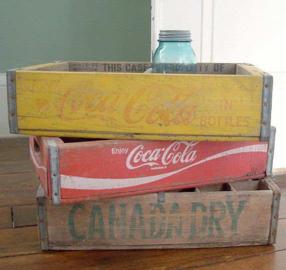Vintage wooden beverage crates