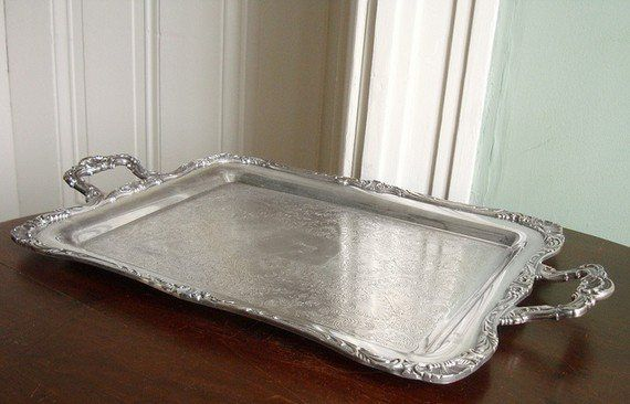 Vintage silver serving tray