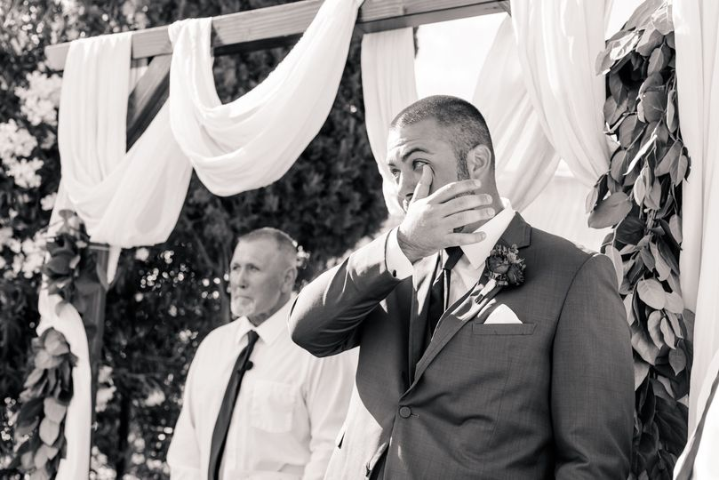 Seeing his bride for the first time
