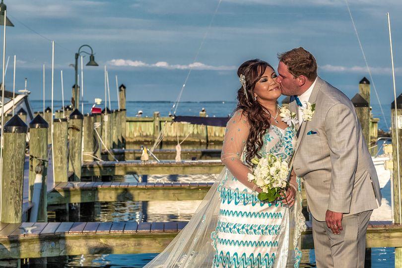 Newlyweds on a dock