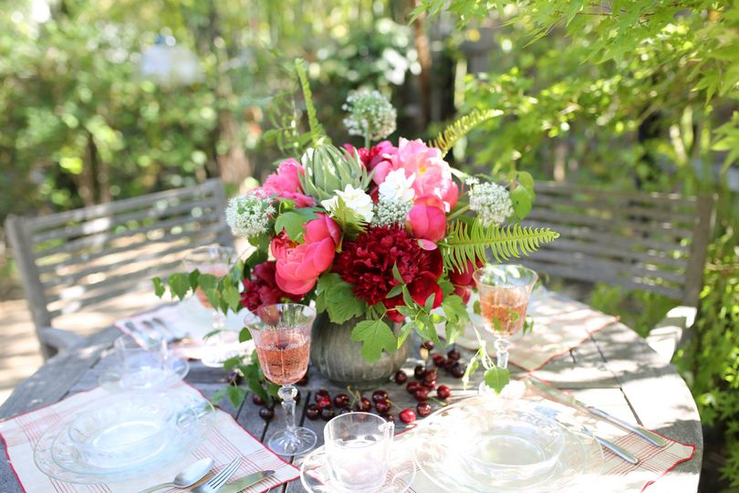 Beautiful Peony arrangement for a bridal brunch - Royal Bee Florals and Events