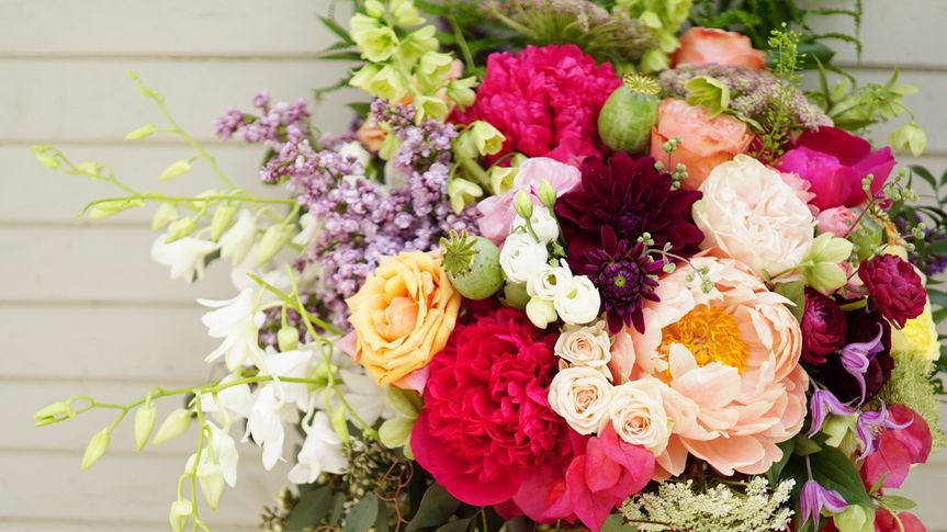 Colorful peony mother's day flower arrangement - royal bee florals and events