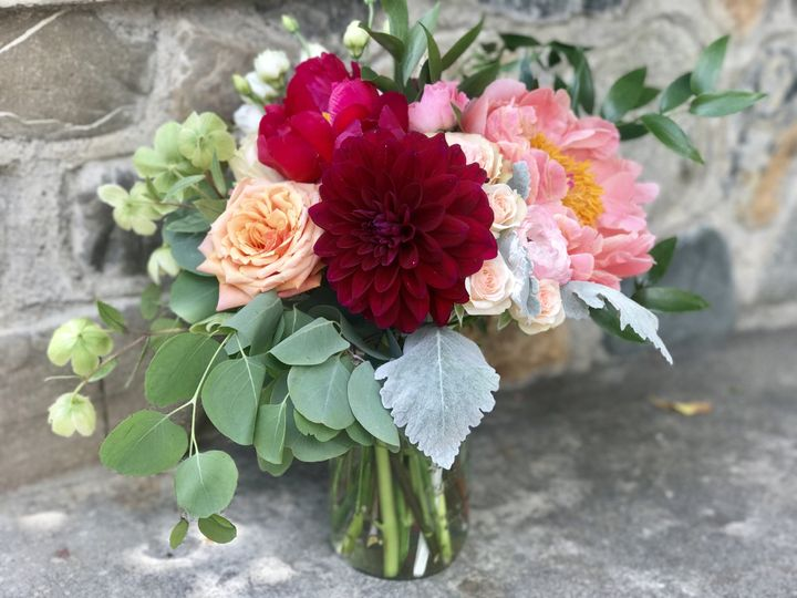 Garden themed wedding centerpiece - royal bee florals and events