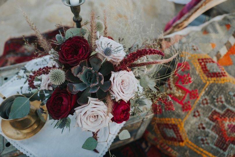 Burgundy and blush flower arrangement - royal bee florals and events