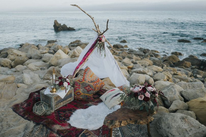 Boho beach love den for engagement shoot - Royal Bee Florals and Events