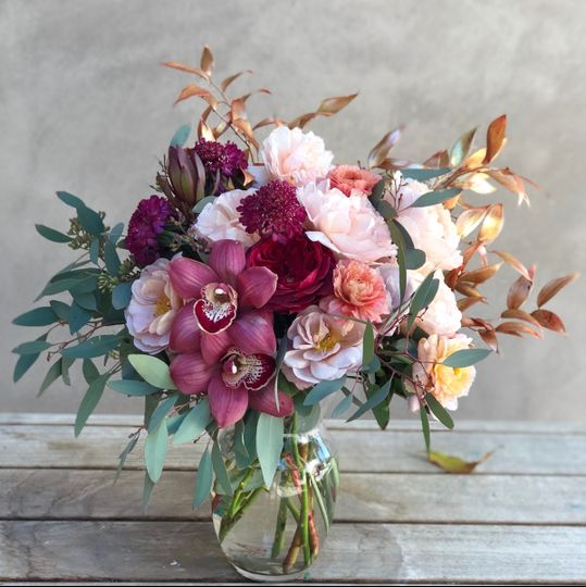 Burgundy and rose gold flower arrangement - royal bee florals and events