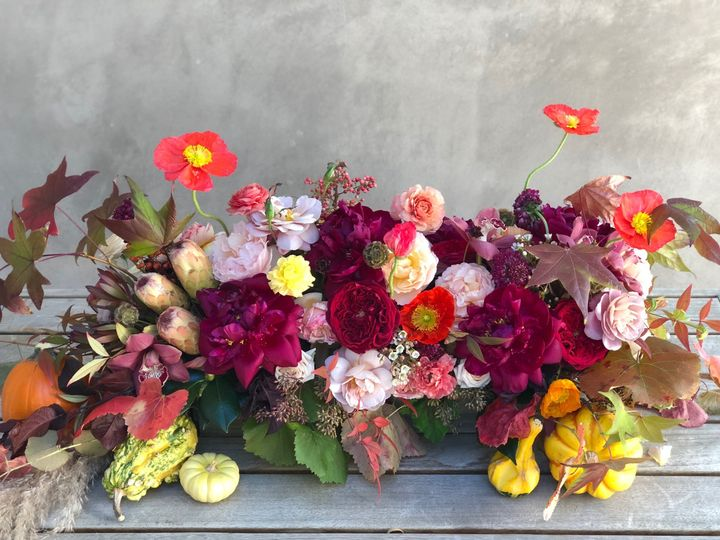 Burgundy and Blush Autumn sweetheart table arrangement - Royal Bee Florals and Events