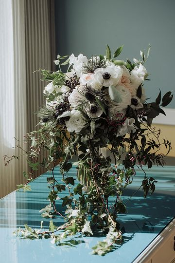 White and blush cascade bridal bouquet - royal bee florals and events