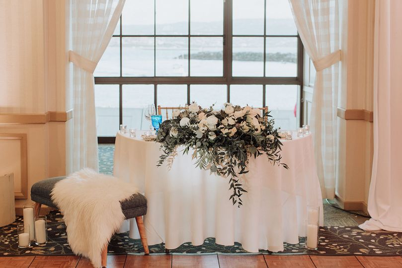 White and Navy Wedding sweetheart table - Royal Bee Florals and Events