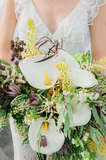 Wild calla lily bridal bouquet - Royal Bee Florals and Events
