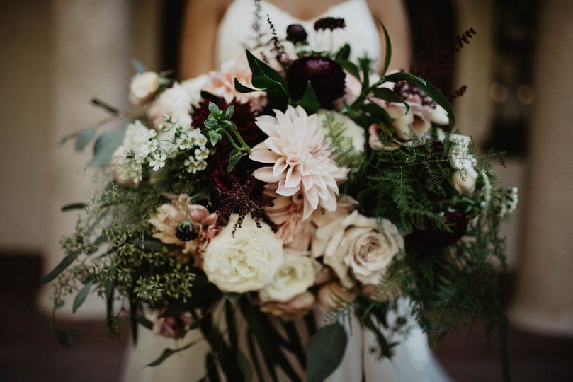 Burgundy and blush bridal bouquet - royal bee florals and events