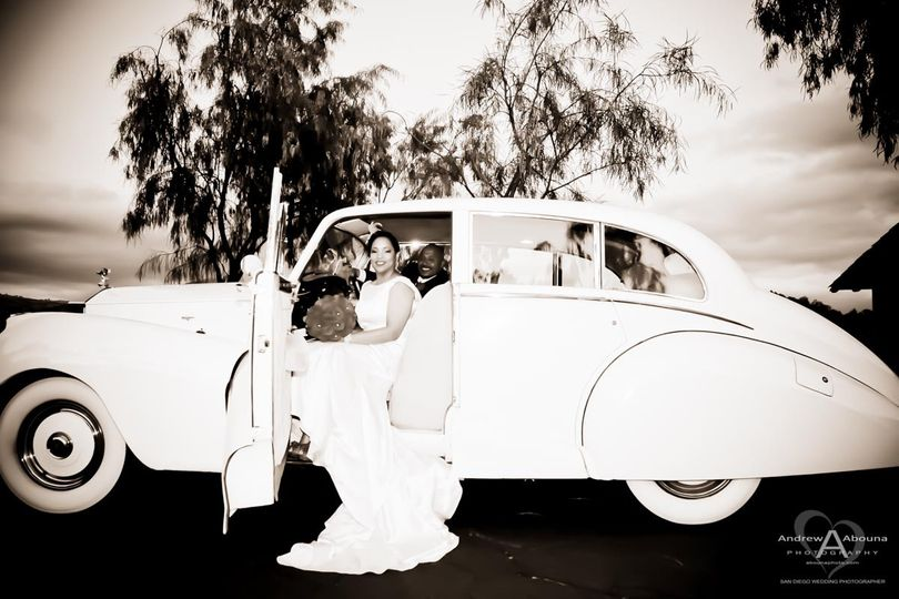 bride in long wedding dress with groom in 1951 rol