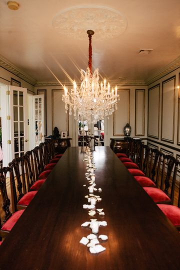 Formal dining room perfect for smaller weddings, formal dining and intimate events