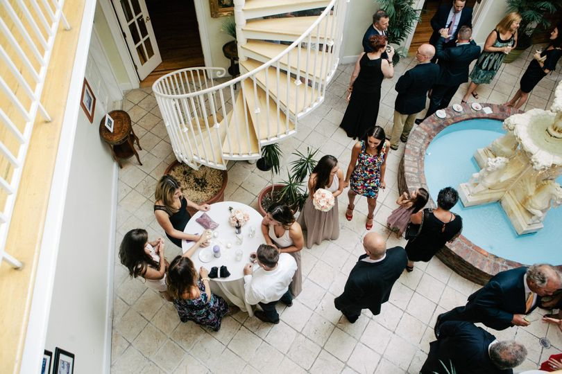 Drinks reception in the Atrium with beautiful indoor fountain