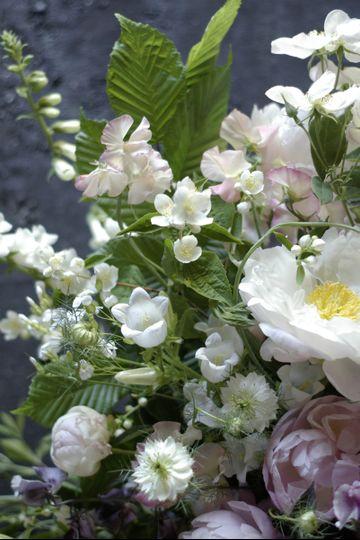 Garden flowers in urn detail