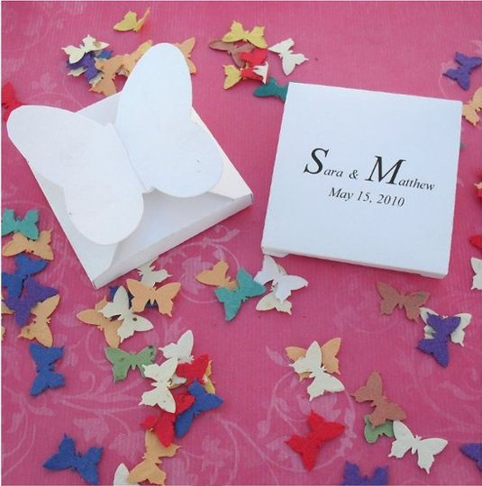 Plantable butterfly confetti in a butterfly favor box.  Favor boxes available in white, yellow,...