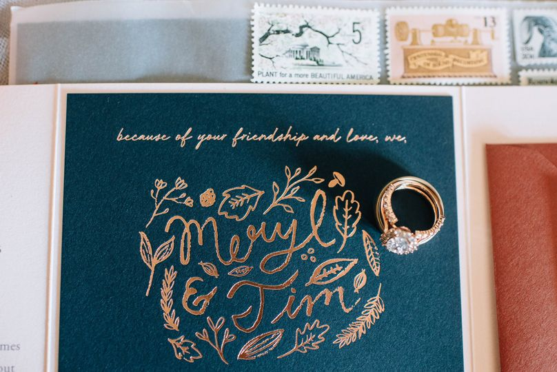Invite detailing and wedding ring | Lauren Allmond Photography