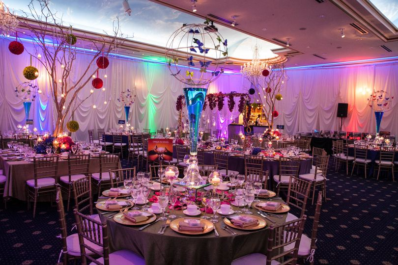 Reception decor and raised centerpieces