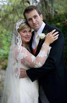Lace edged silk tulle mantilla wedding veil