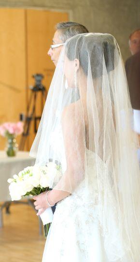 Soft silk tulle drop veil with a narrow silver edge