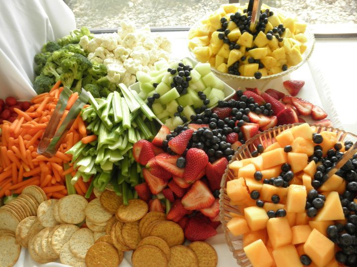 Fruit cheese & vegetable display