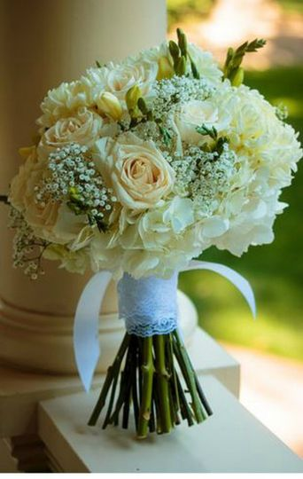 Florals by Rhonda llc White on White Hydrangea Bridal Bouquet