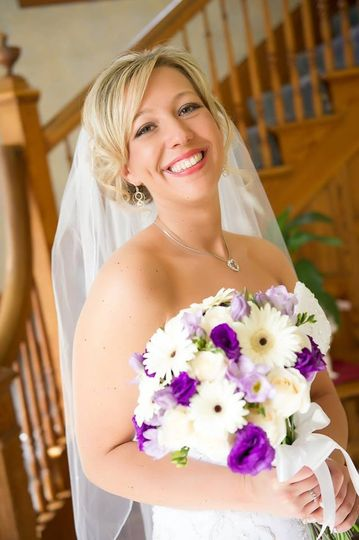 White & Purple Gerbera Daisy bouquet Florals by Rhonda llc Sarah Christine Photography