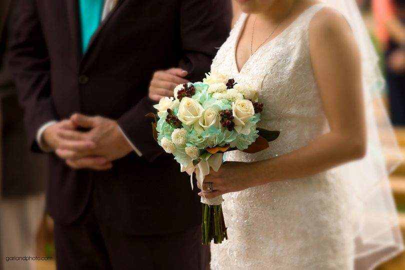 Turquoise & Brown Bridal Bouquet Florals by Rhonda llc Garland Photography