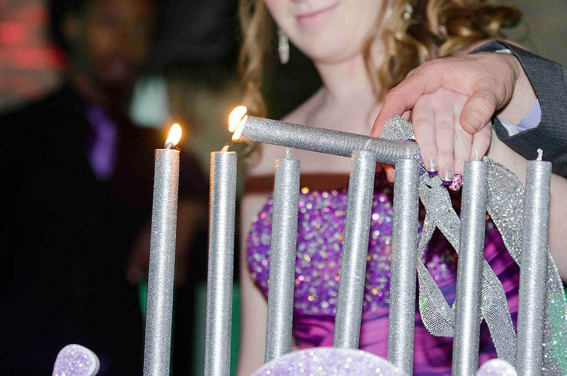 Glittering sliver candles - Rob Rivera Photography