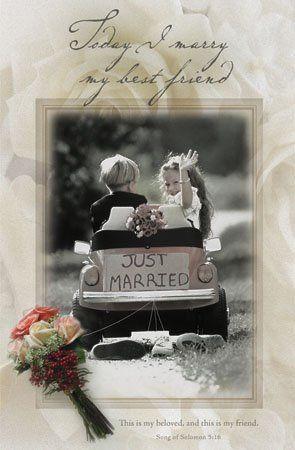 Wedding Programs featuring a little boy and girl speeding away.