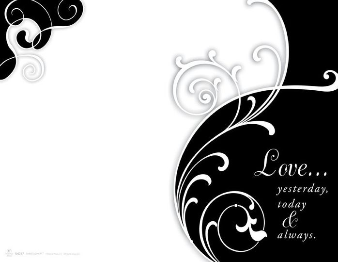 Wedding program cover in Black and White. Has a very modern yet graceful appearance. The wording is:...