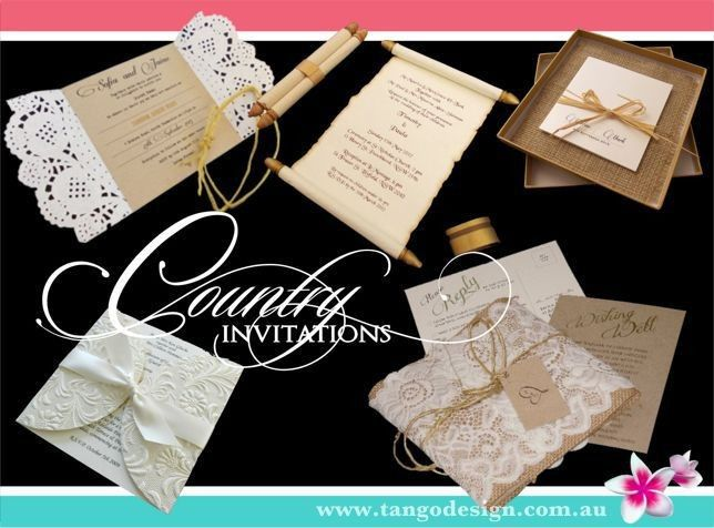 Country wedding invitations with rustic materials. Also suitable for barn, shabby chic, boho or...