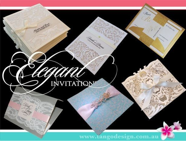 Elegant wedding invitations with without a particular wedding theme. Featuring simple or...