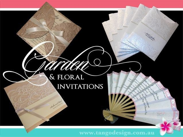 Garden or ourdoor wedding invitations with floral or fresh materials. Also suitable for spring or...