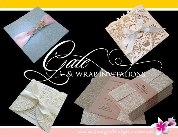 Gate wedding invitations created with handmade papers or lasercut with gatefold shape.