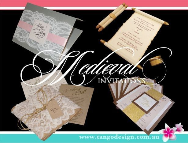 Medieval wedding invitations with including scrolls, elder papers and lace.