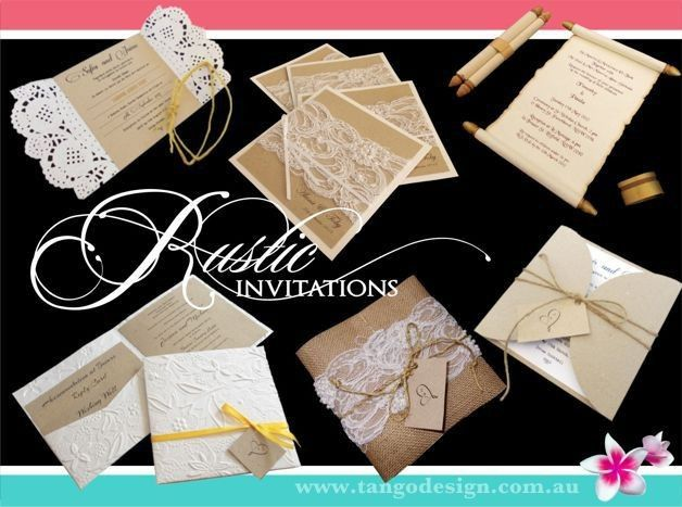 Rustic wedding invitations created with rustic materials, burlap and lace, kraft papers and twin for...