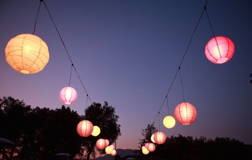 Colored Paper Lanterns At Twilight